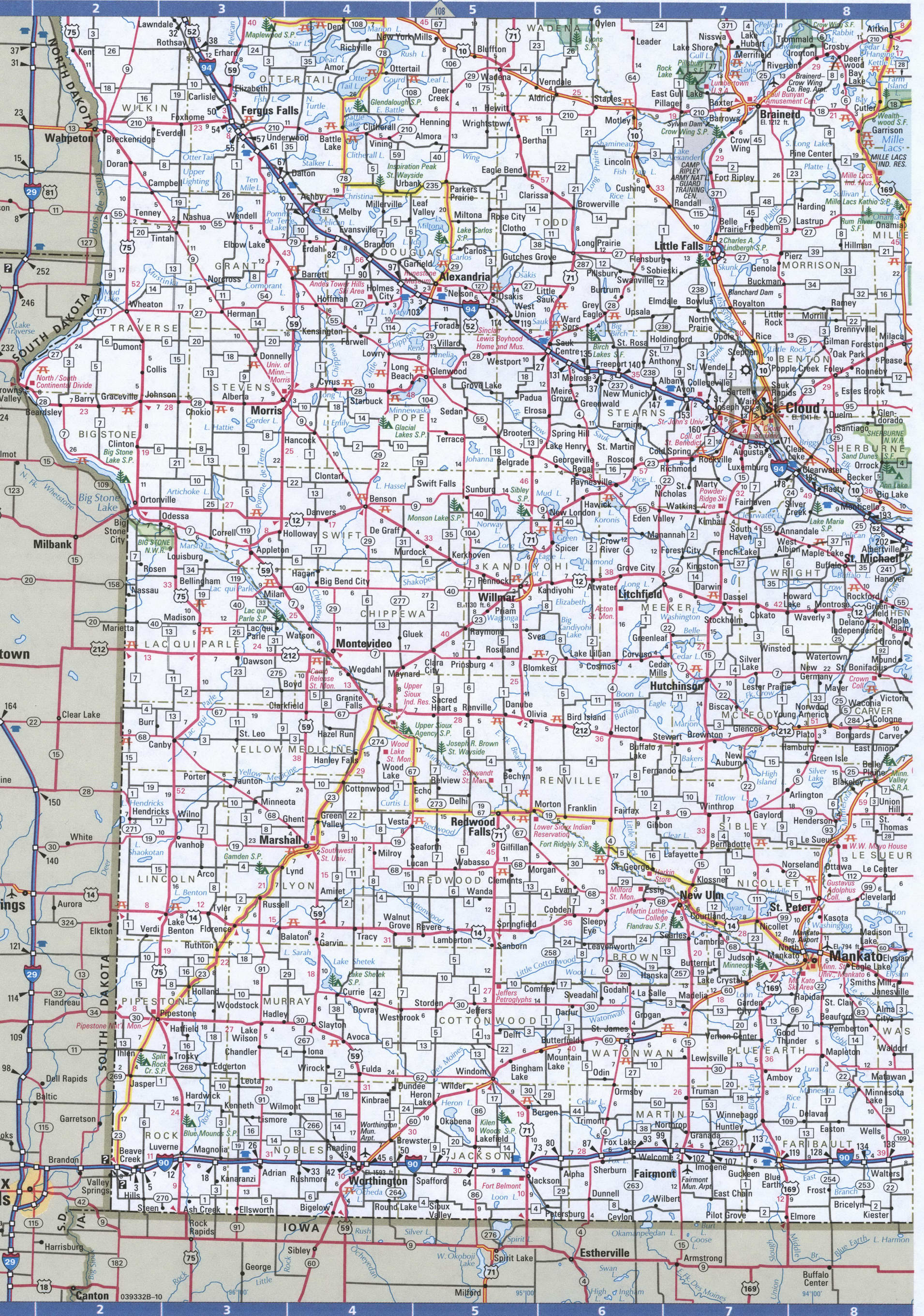 WestSouth Minnesota map