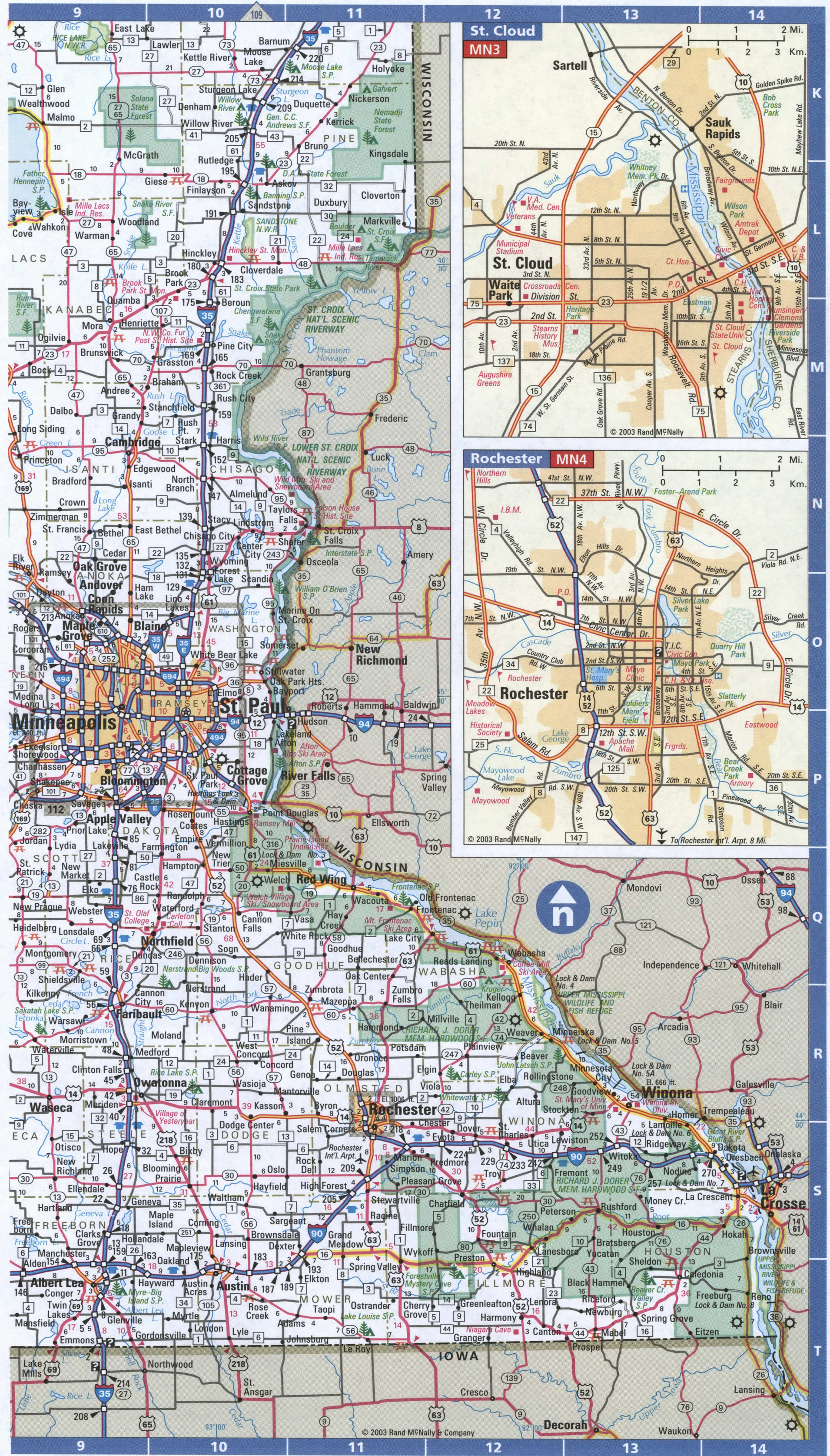 EastSouth Minnesota map