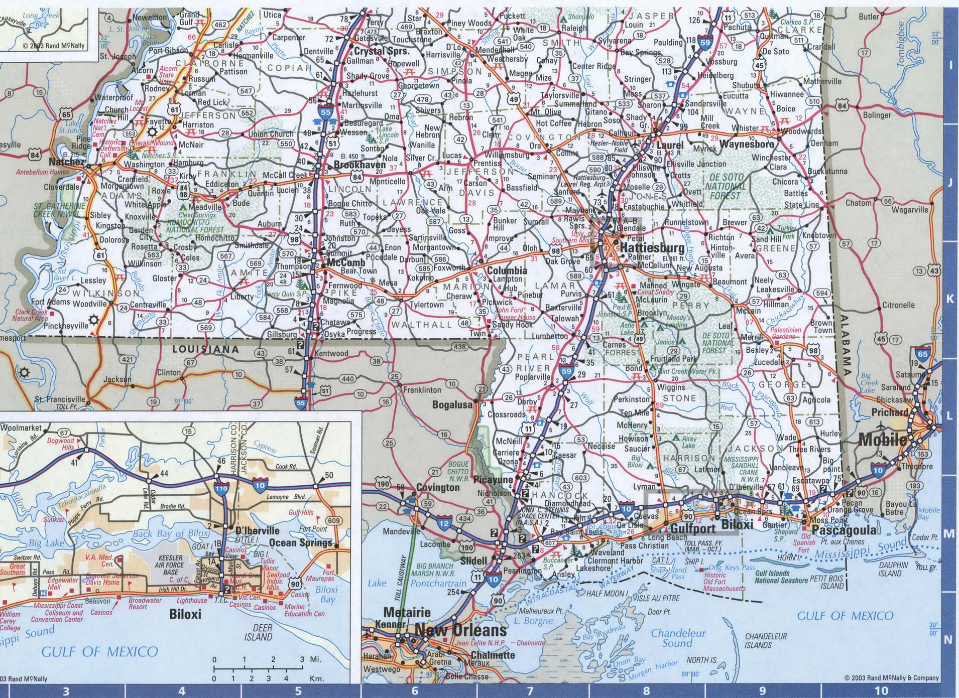 South Mississippi map