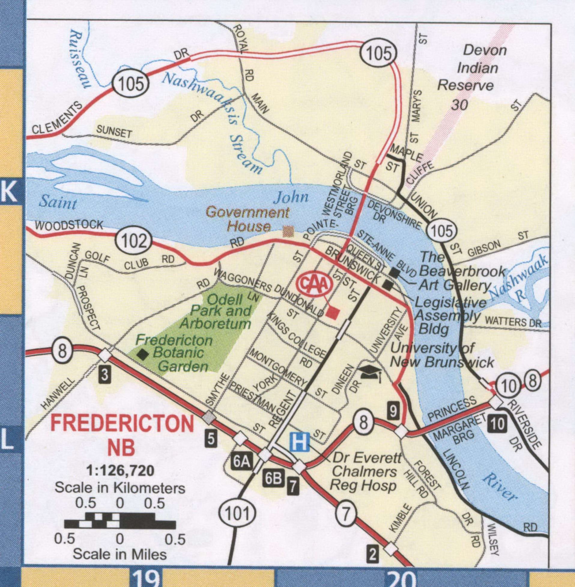 Fredericton NB road map