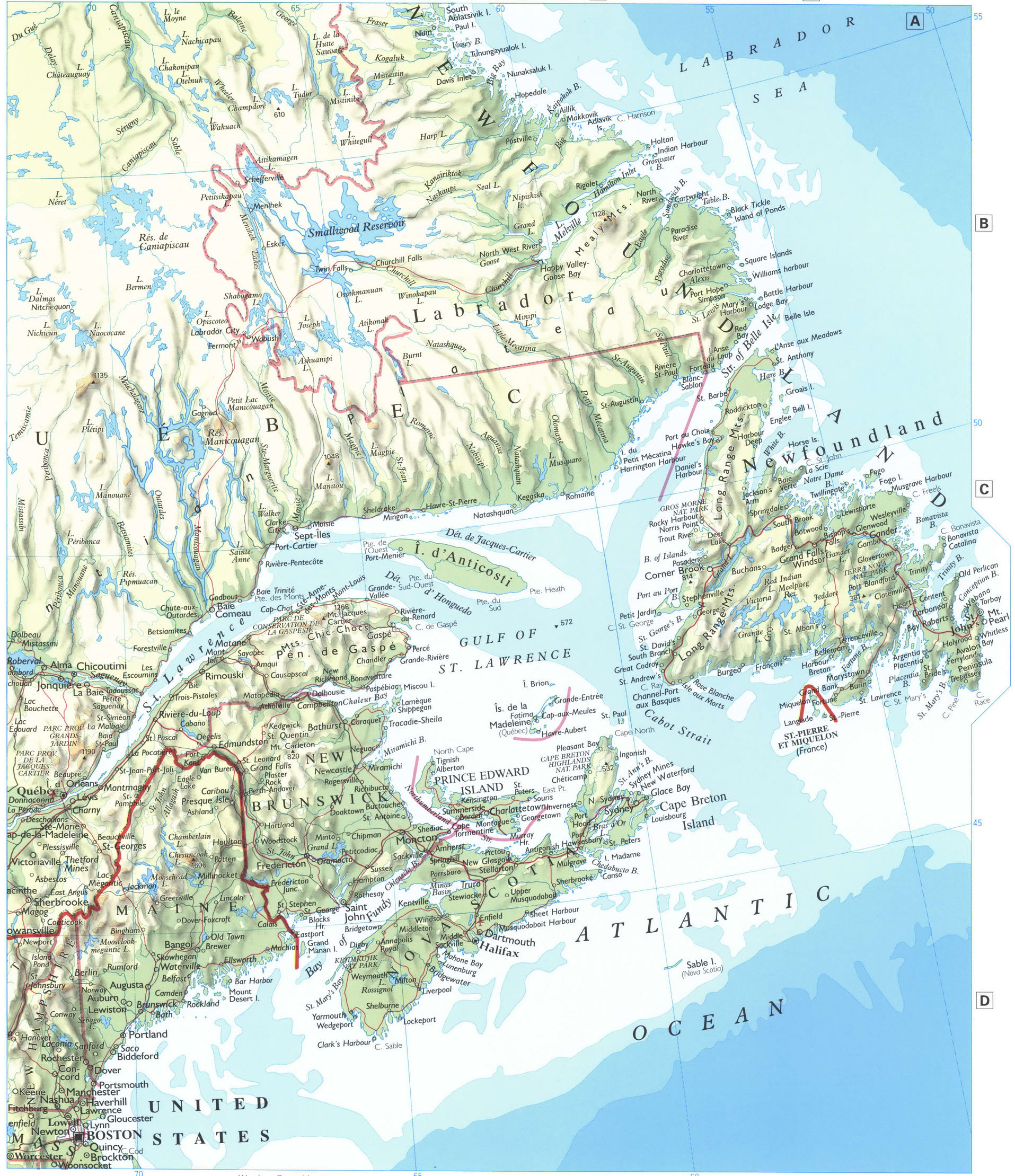 east canada map with rivers and mountains