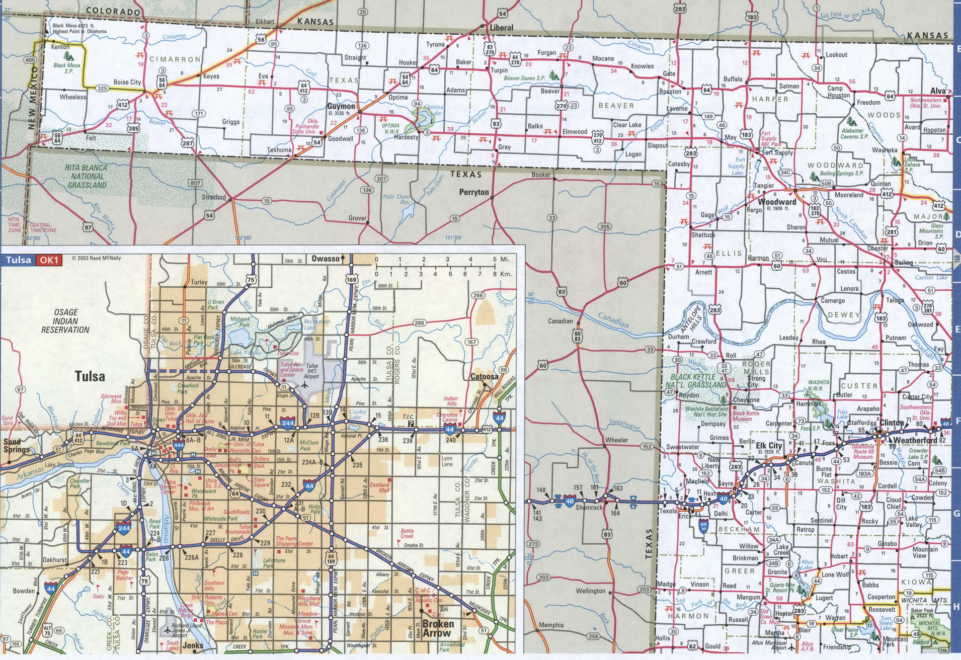 Map Of Oklahoma Western Free Highway Road Map Ok With Cities Towns Counties Atlas Usa