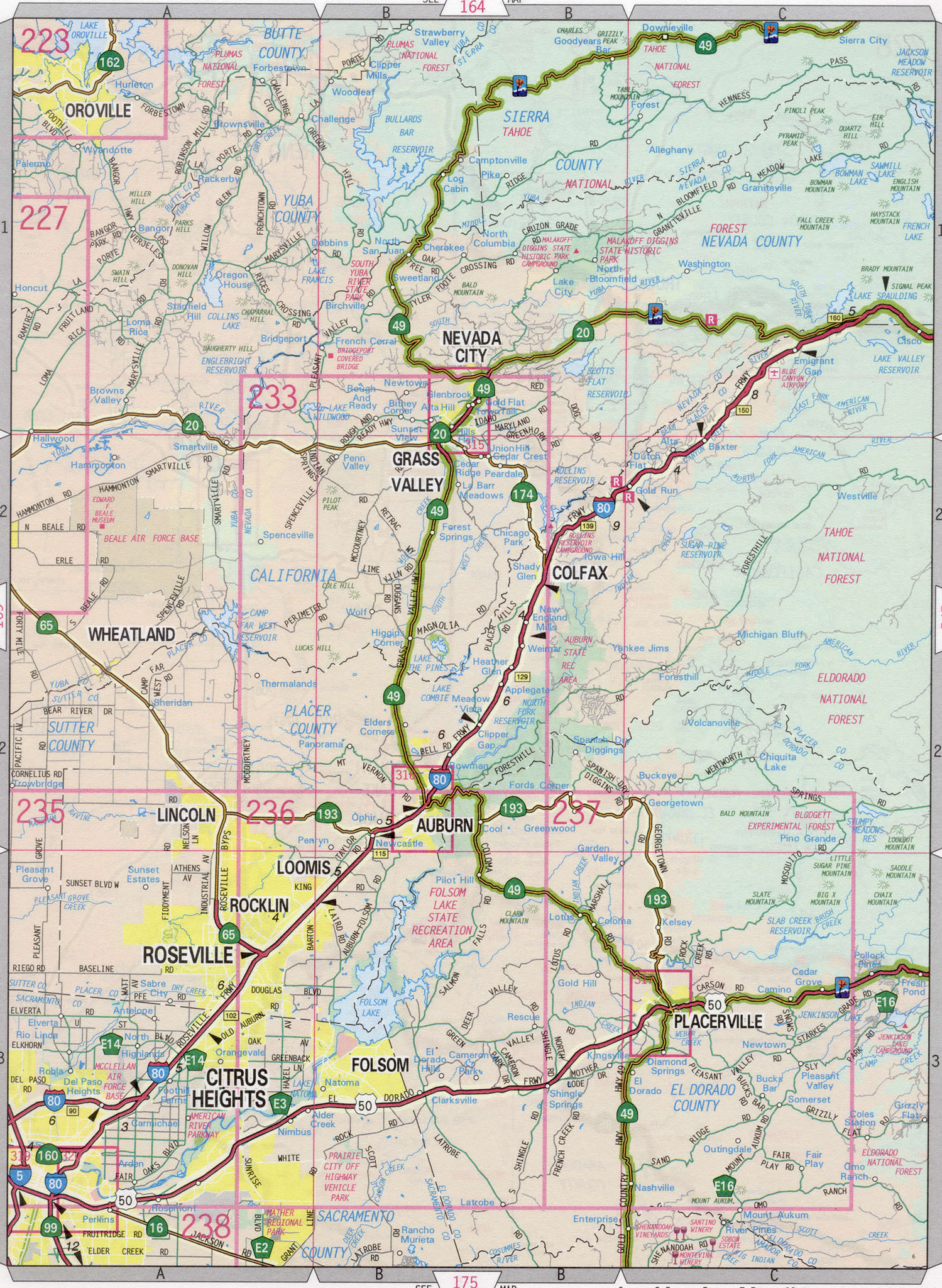 Nevada county road map