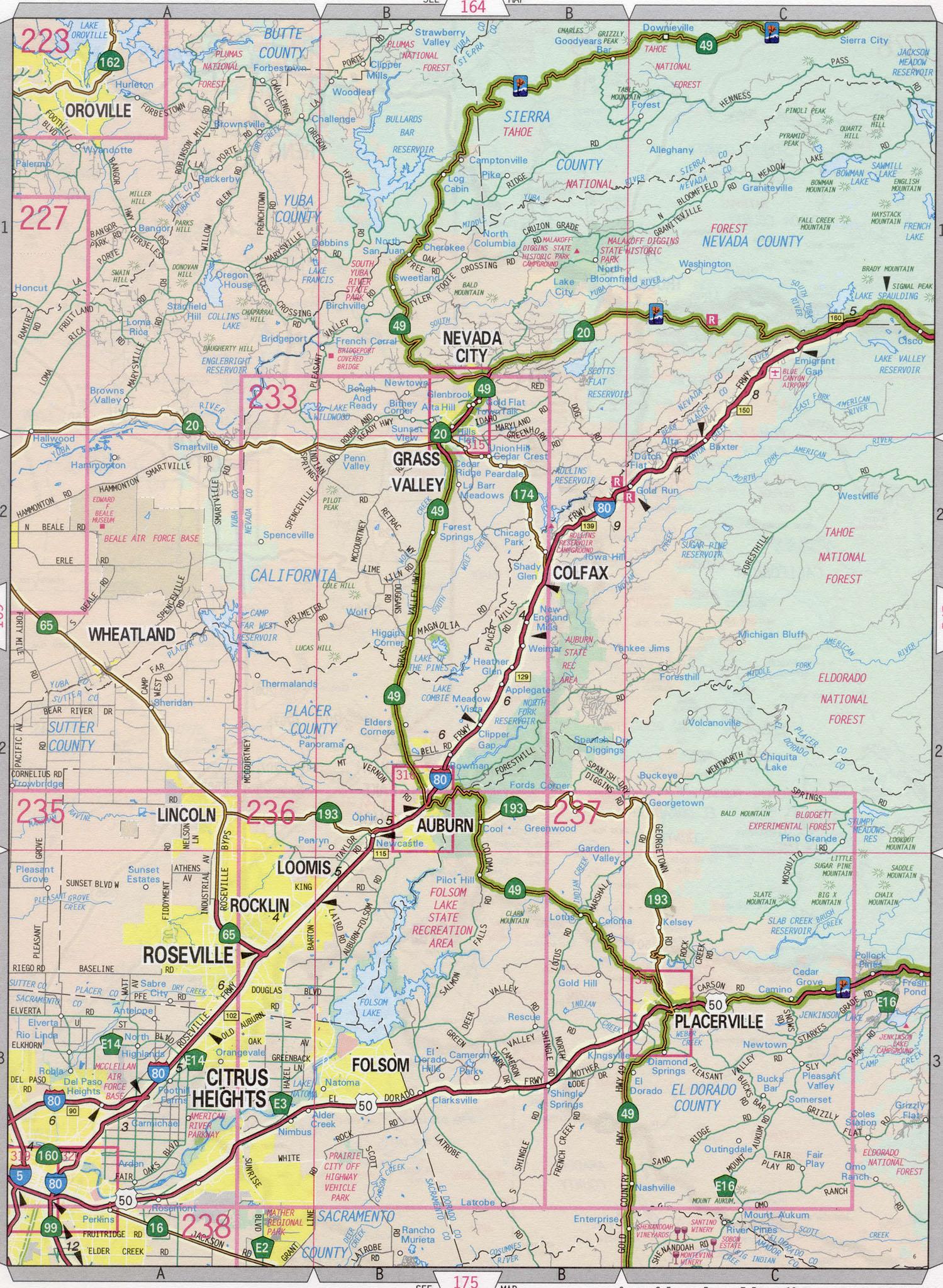 Nevada County Road Map