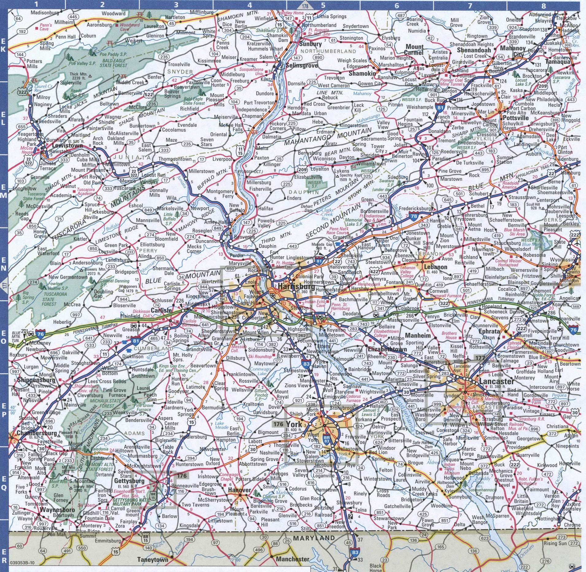 Image of: Map Of Pennsylvania Southeastern Free Highway Road Map Pa With Cities Towns Counties Atlas Usa