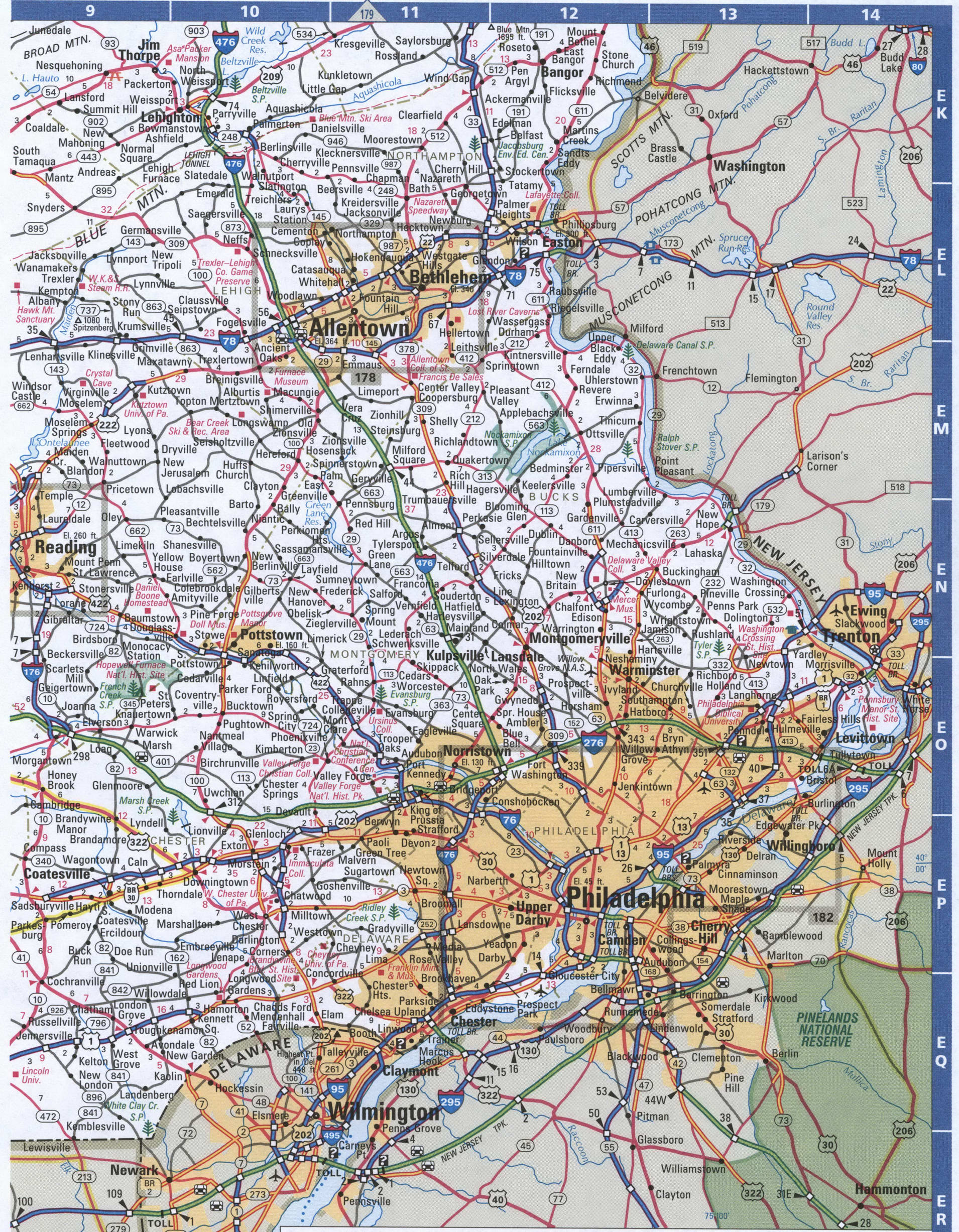 Picture of: Map Of Pennsylvania Southeastern Free Highway Road Map Pa With Cities Towns Counties Atlas Usa