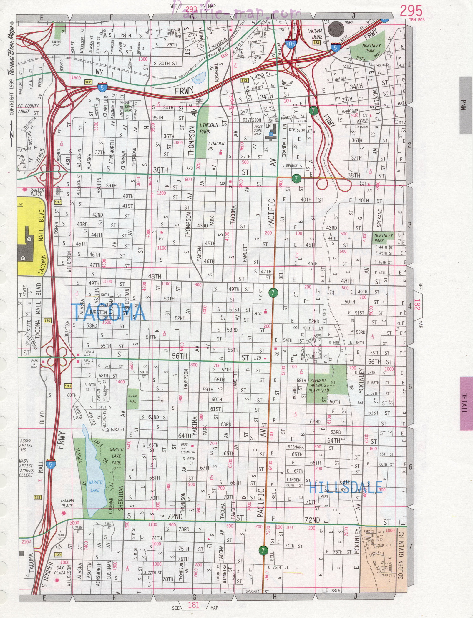 Picture of: Map Of Tacoma City Detailed Map With Highways Streets Shopping Centers Atlas Usa