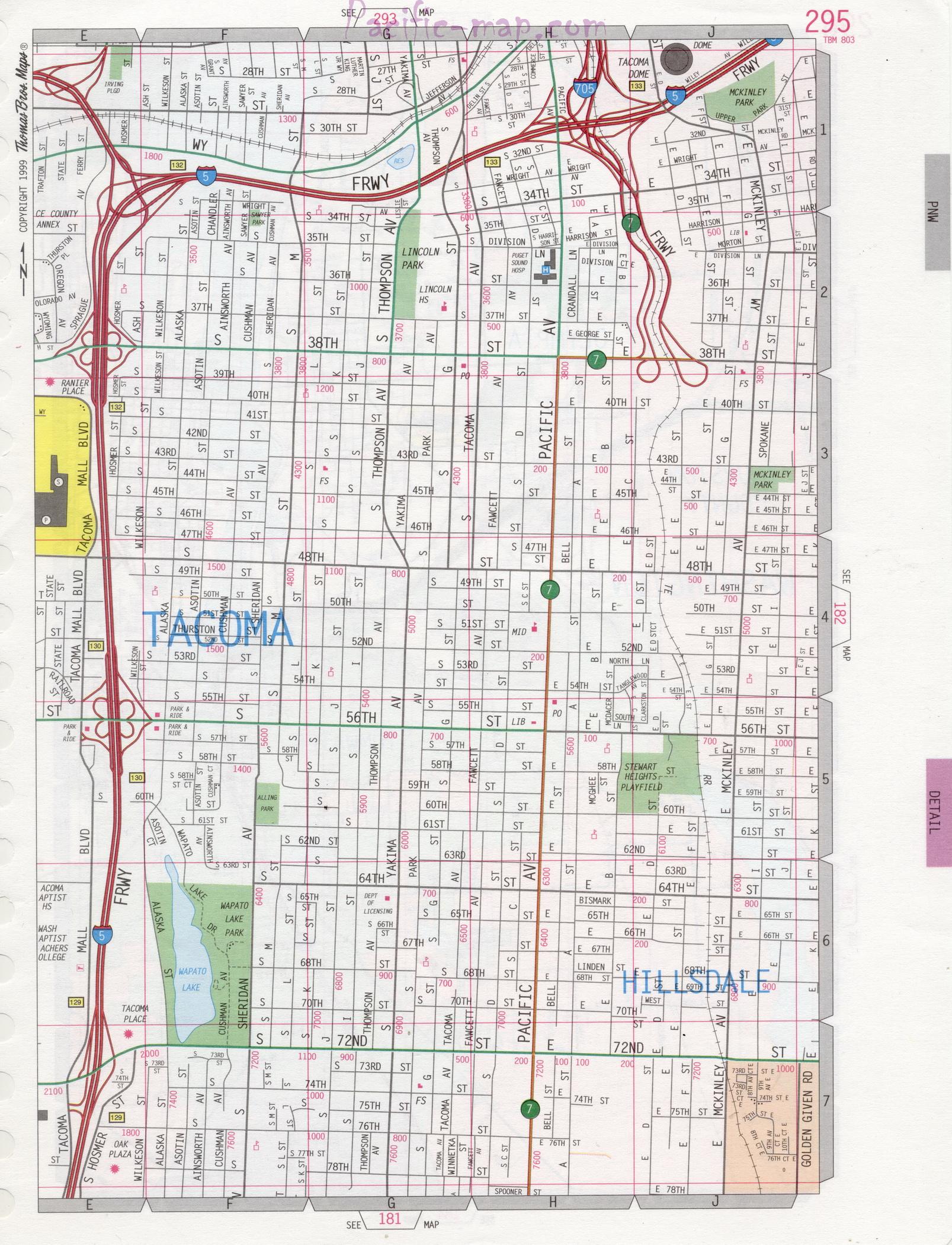 Map Of Tacoma Washington Tacoma WA road map Map Of Tacoma Washington