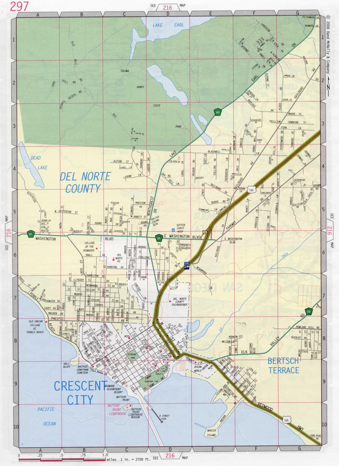 City California Map.Crescent City Road Map