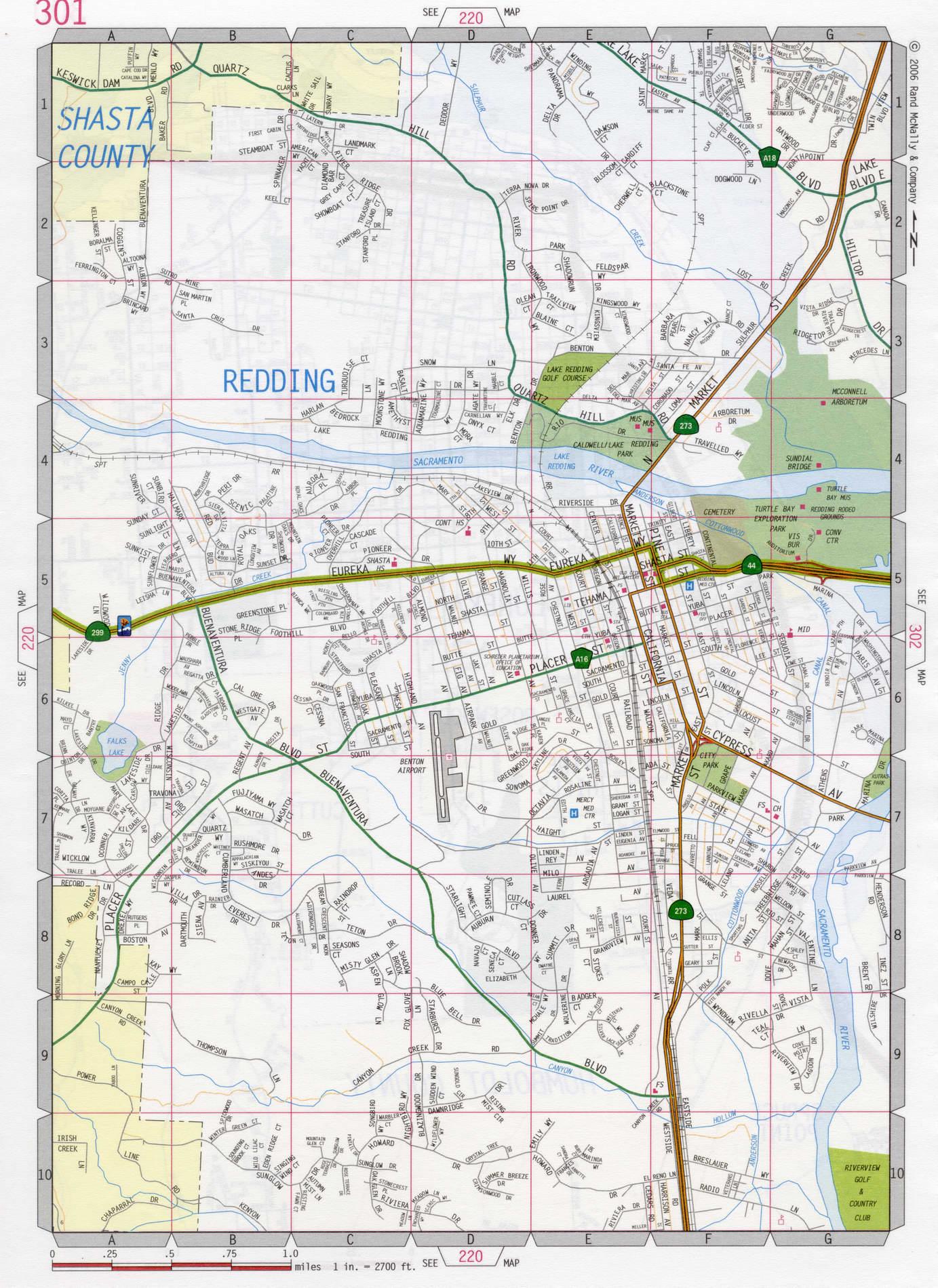 Redding city road map
