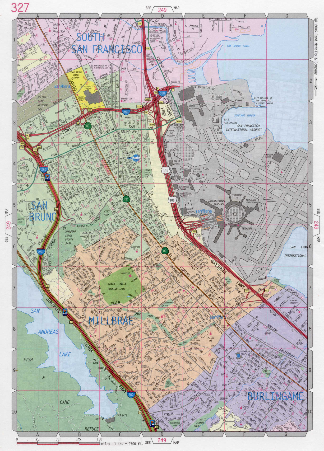 Image of: Map Of Burlingame City California Us Free Large Detailed Road Map Atlas Usa