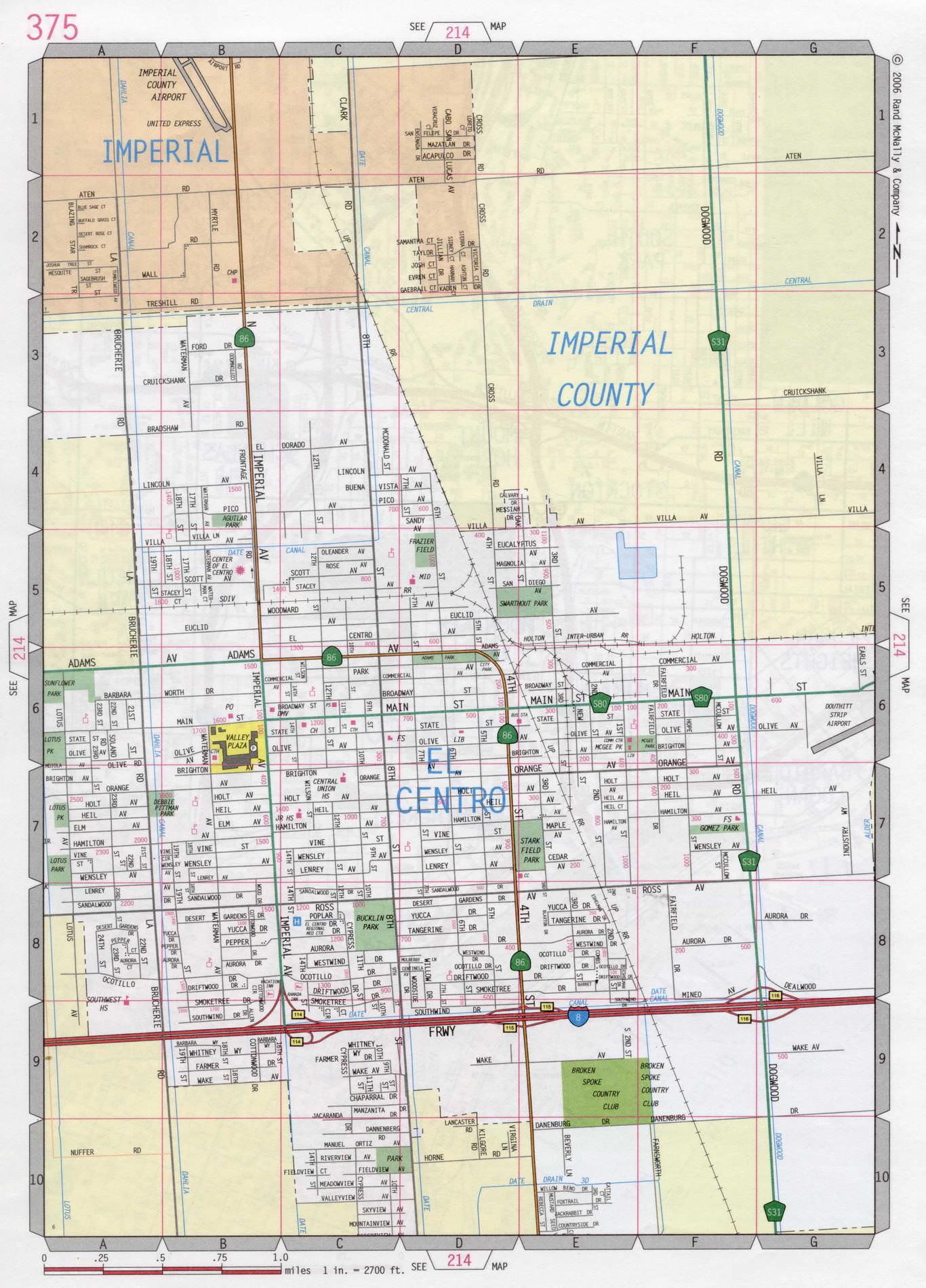 El Centro road map