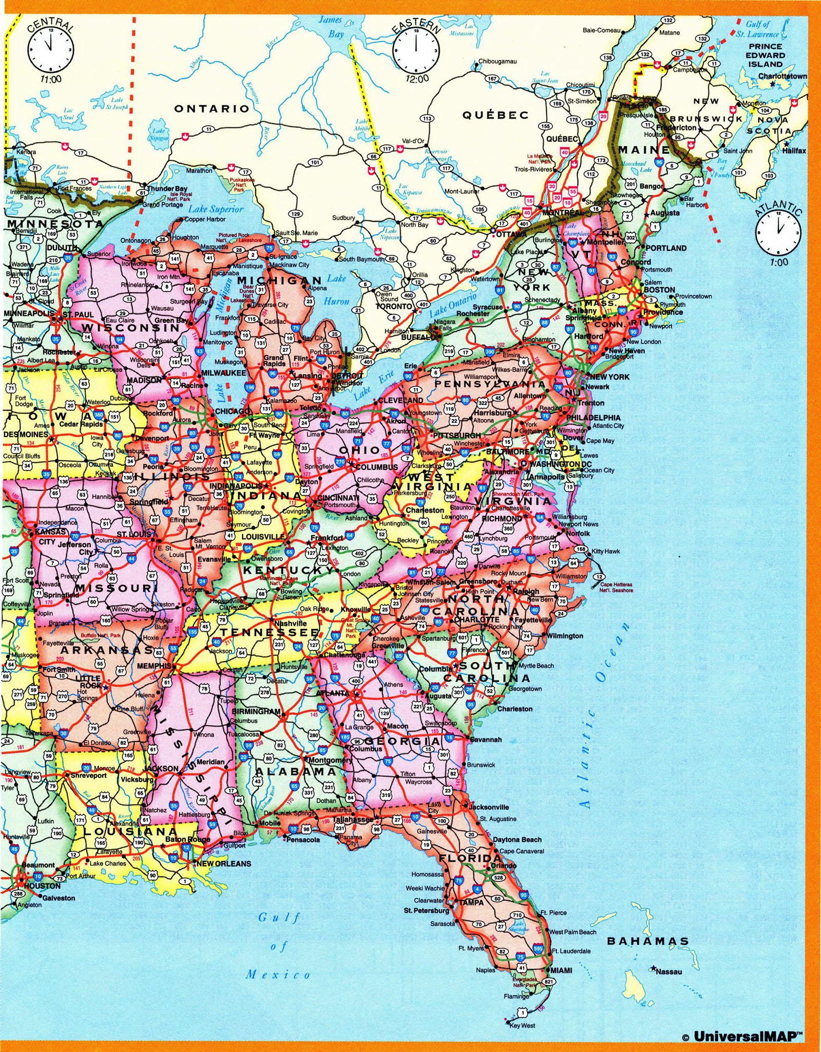 Us Highway Map With Time Zones Time Zone US. Map of USA with Time Zone