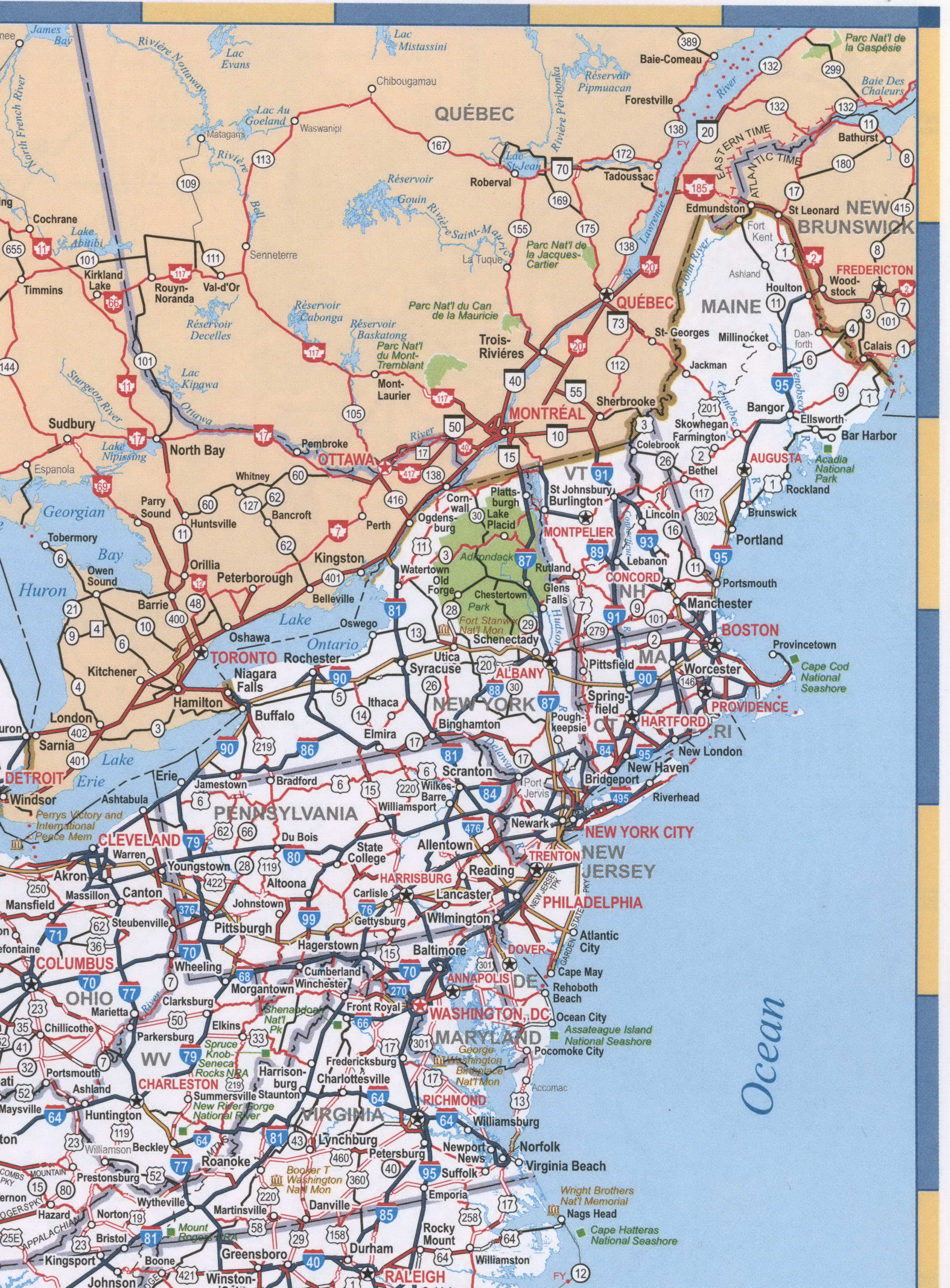 Map of New England region USA