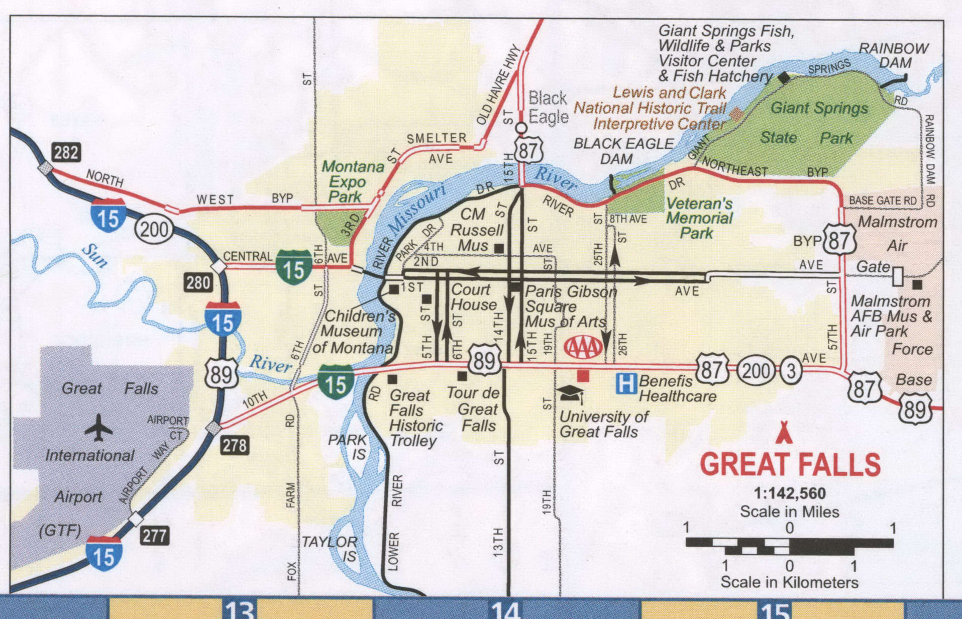 Great Falls MT road map