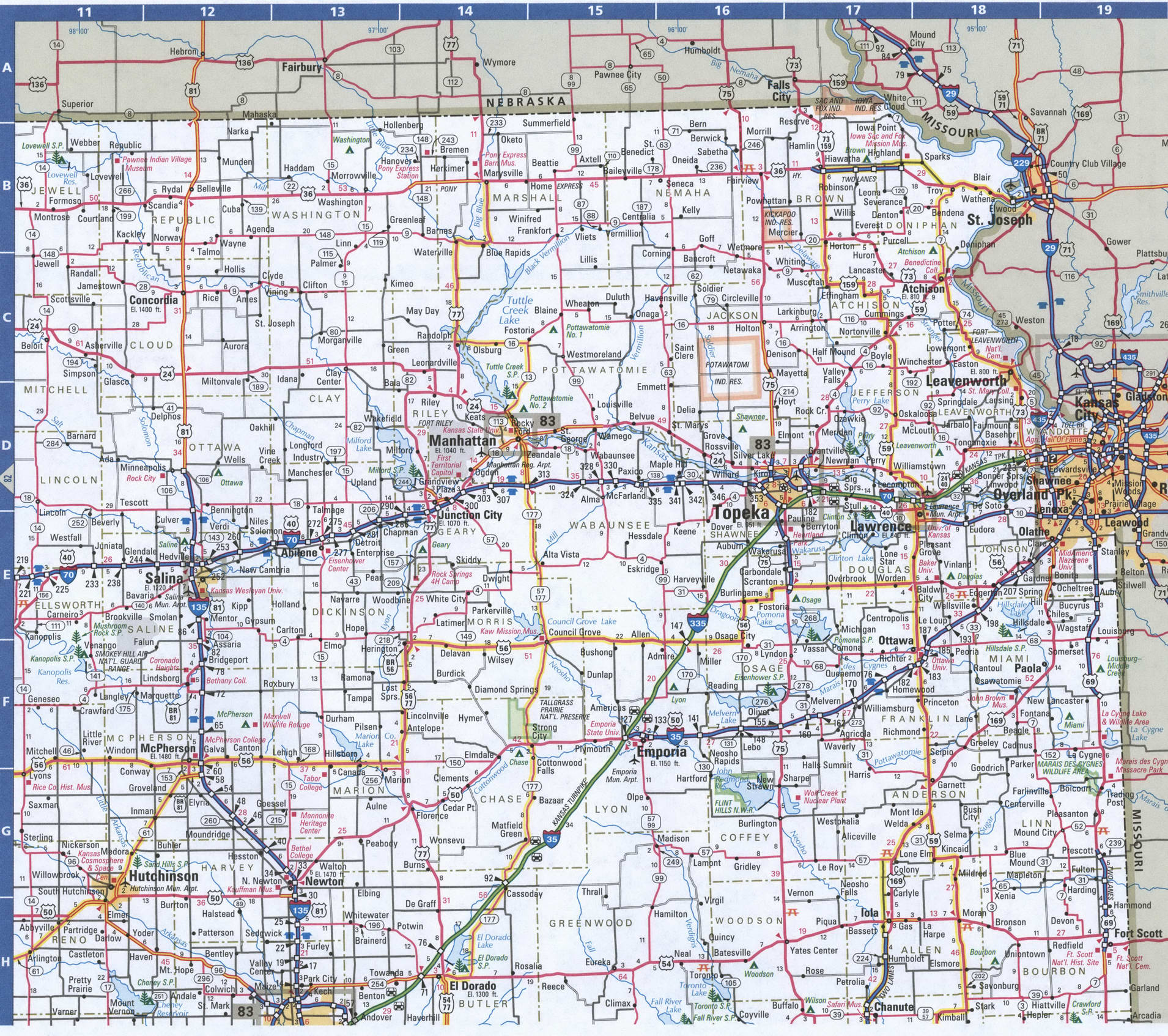 NorthEast Kansas map