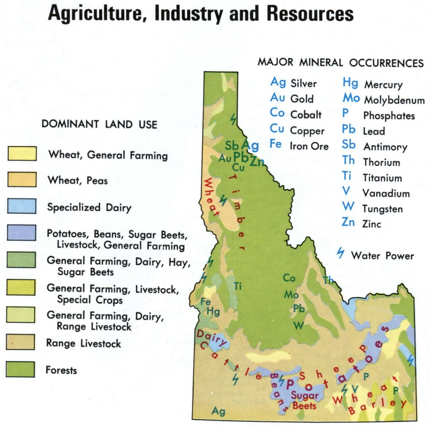 Map of Idaho Resources, agriculture, industry