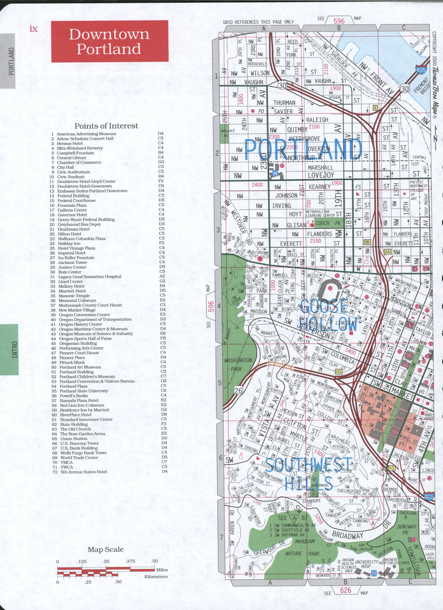 Portland Downtown street map